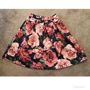 Charlotte Russe floral midi skirt L